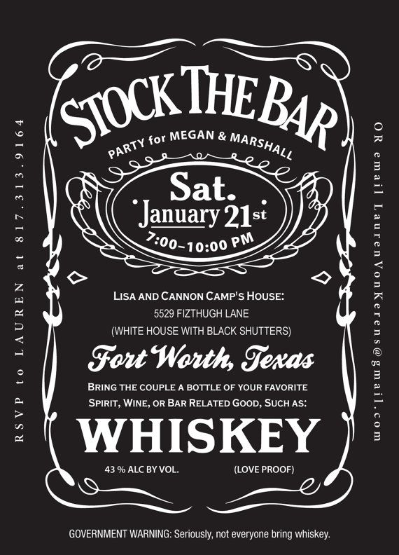 Jack Daniels Stock The Bar Wedding Shower By Rookdesignco On Etsy 25 00 Sarah Underwood