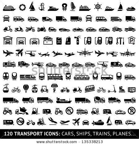 Transportation Icons Trains Camion Transport Transport