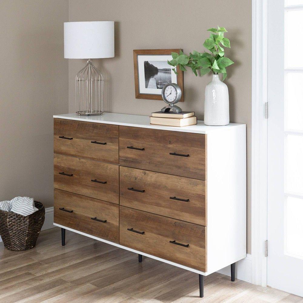Best 52 Reclaimed 6Drawer Storage White Rustic Oak Saracina 400 x 300