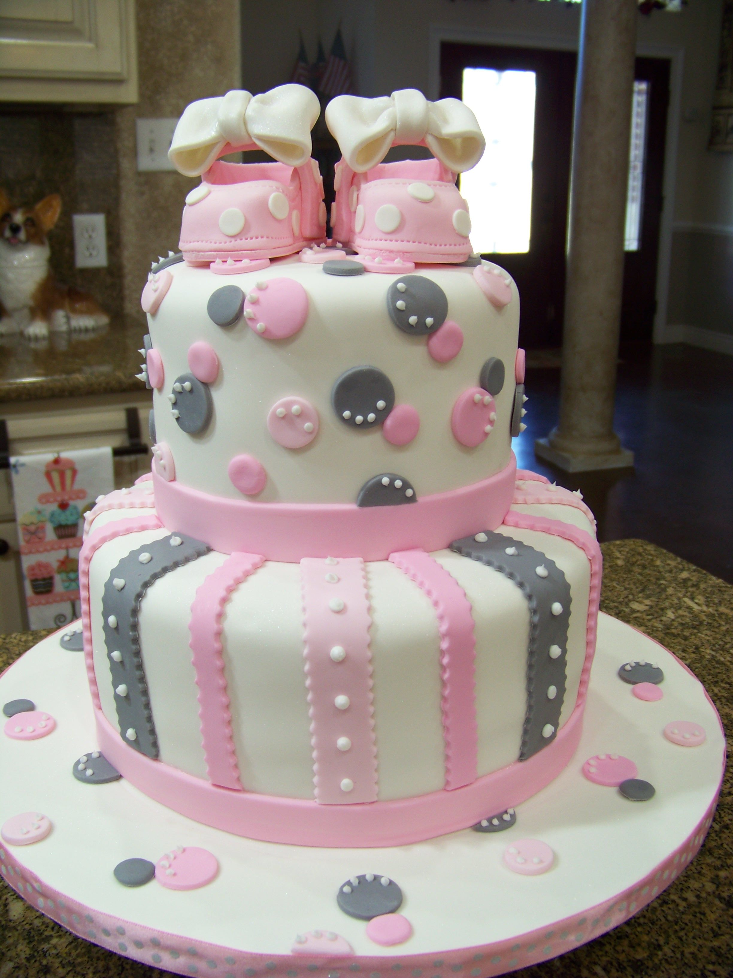 Pink & Gray baby shower cake Vanilla cake bc icing covered in