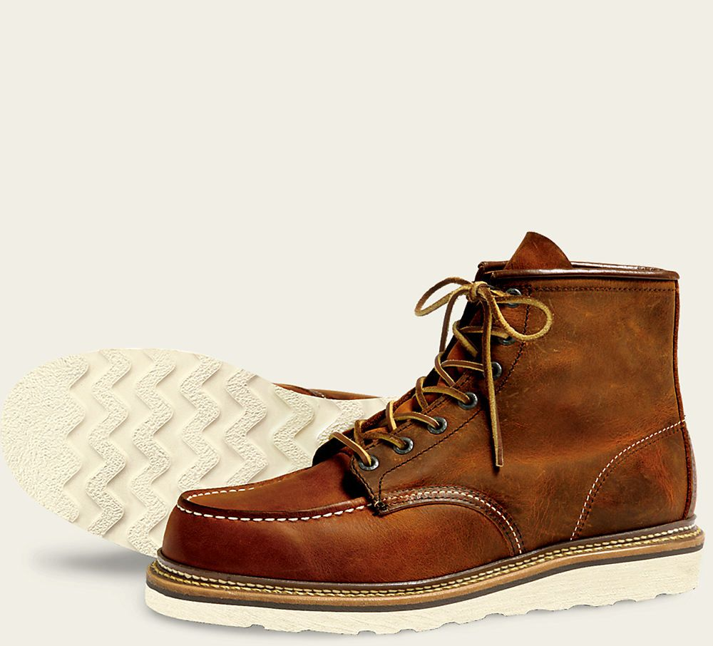 Classic Moc Style 1907 - Oil Tanned Leather  Copper Rough and Tough Leather