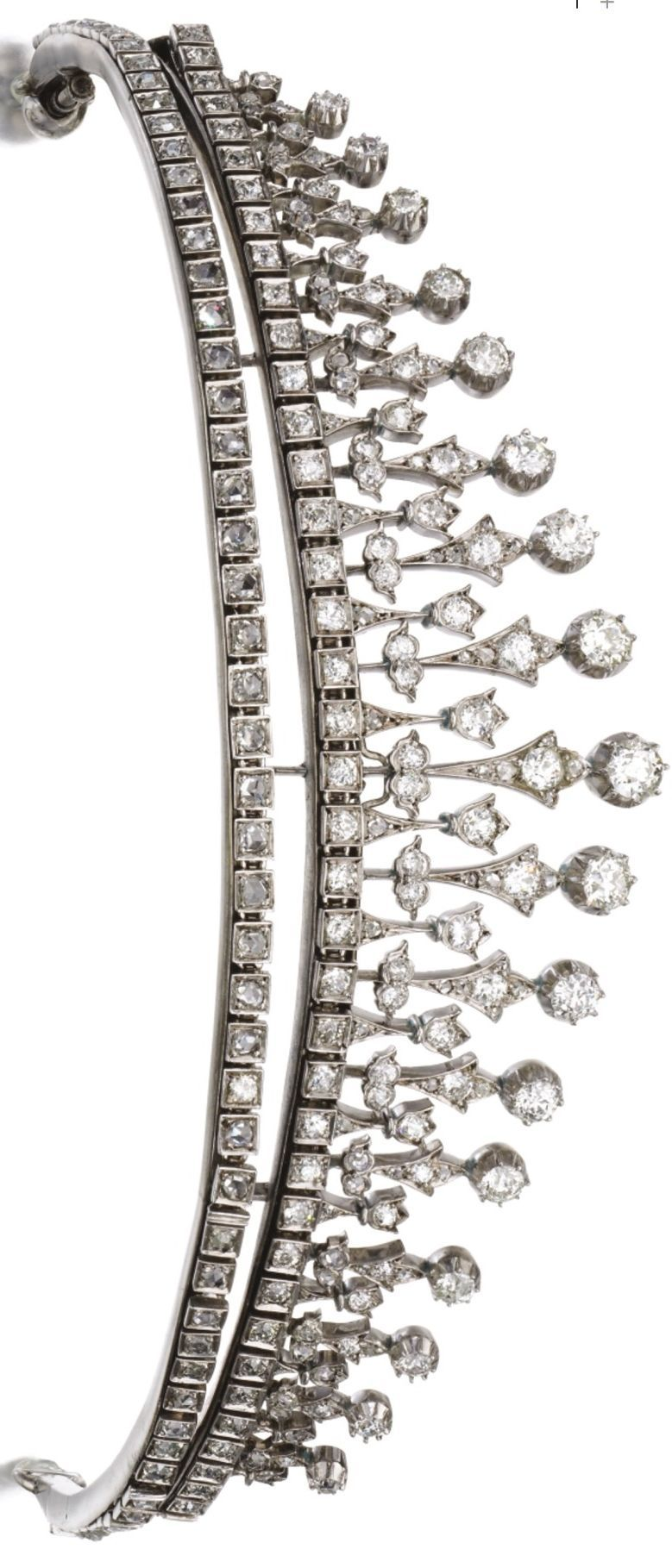 Diamond necklace/tiara, circa 1880 Designed as a series of graduated floret motifs, set with circular-cut and rose diamonds, tiara mount detachable, convertible into a necklace of fringe design with extension fittings, length approximately 450mm, fitted case stamped James R. Ogden. Image Sotherby's