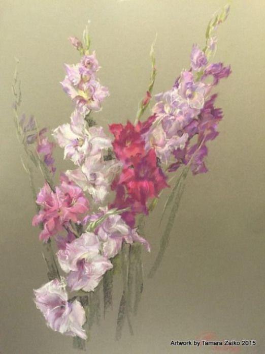 Russian author Tamara Zaiko??????.??????????. 60?90 ??????? ???????????? ??????August. Gladiouluses . 60x90 Pastel toned paperAugust. Gladiolen. 60x90 Pastelle farbiges Patellpapier