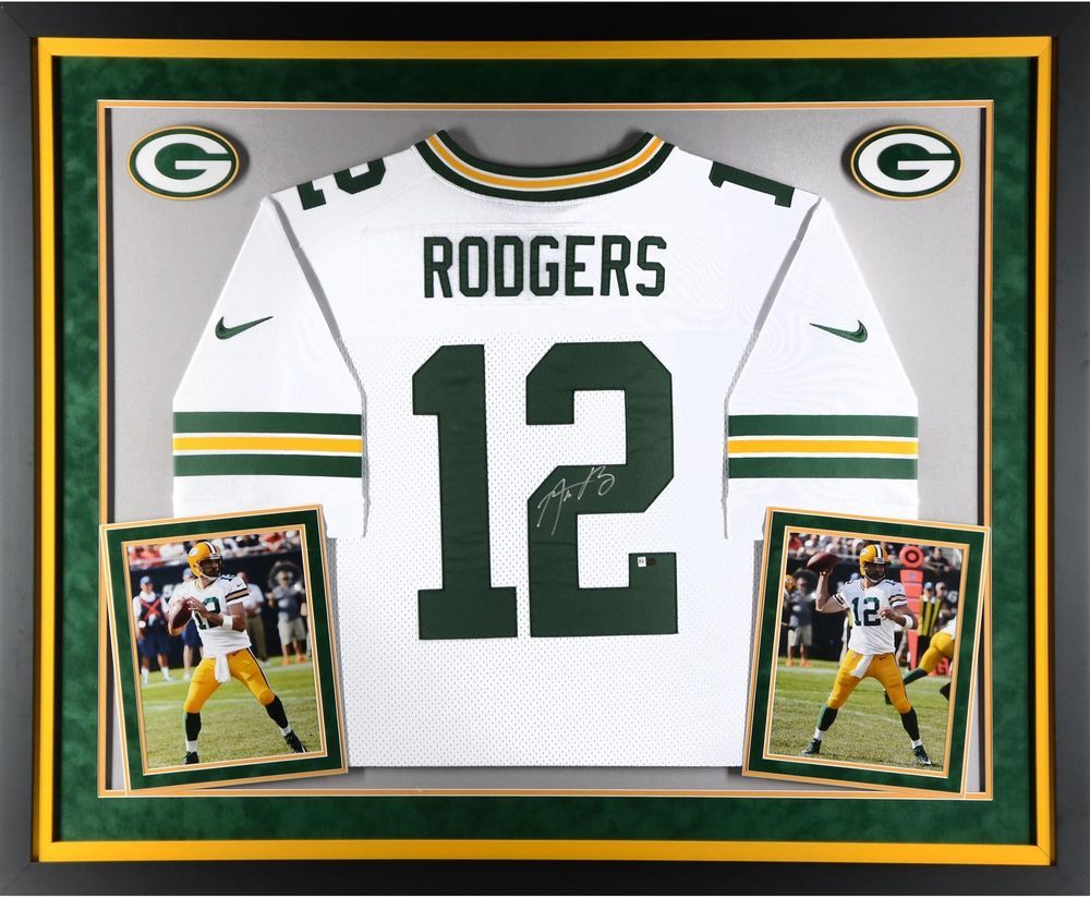 Aaron Rodgers GB Packers Framed Signed White Elite Jersey - Fanatics ... 671a6ce8d