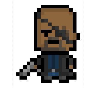Pixelblock Nick Fury The Eyepatch Wearing Head Of Pixel Art Graph Paper Drawings Character Art