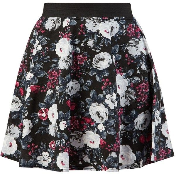 Black and Red Floral Print Skater Skirt (€6,63) ❤ liked on Polyvore featuring skirts, bottoms, saia, red pattern, patterned skirts, skater skirts, red skirt, circle skirt and floral skater skirts