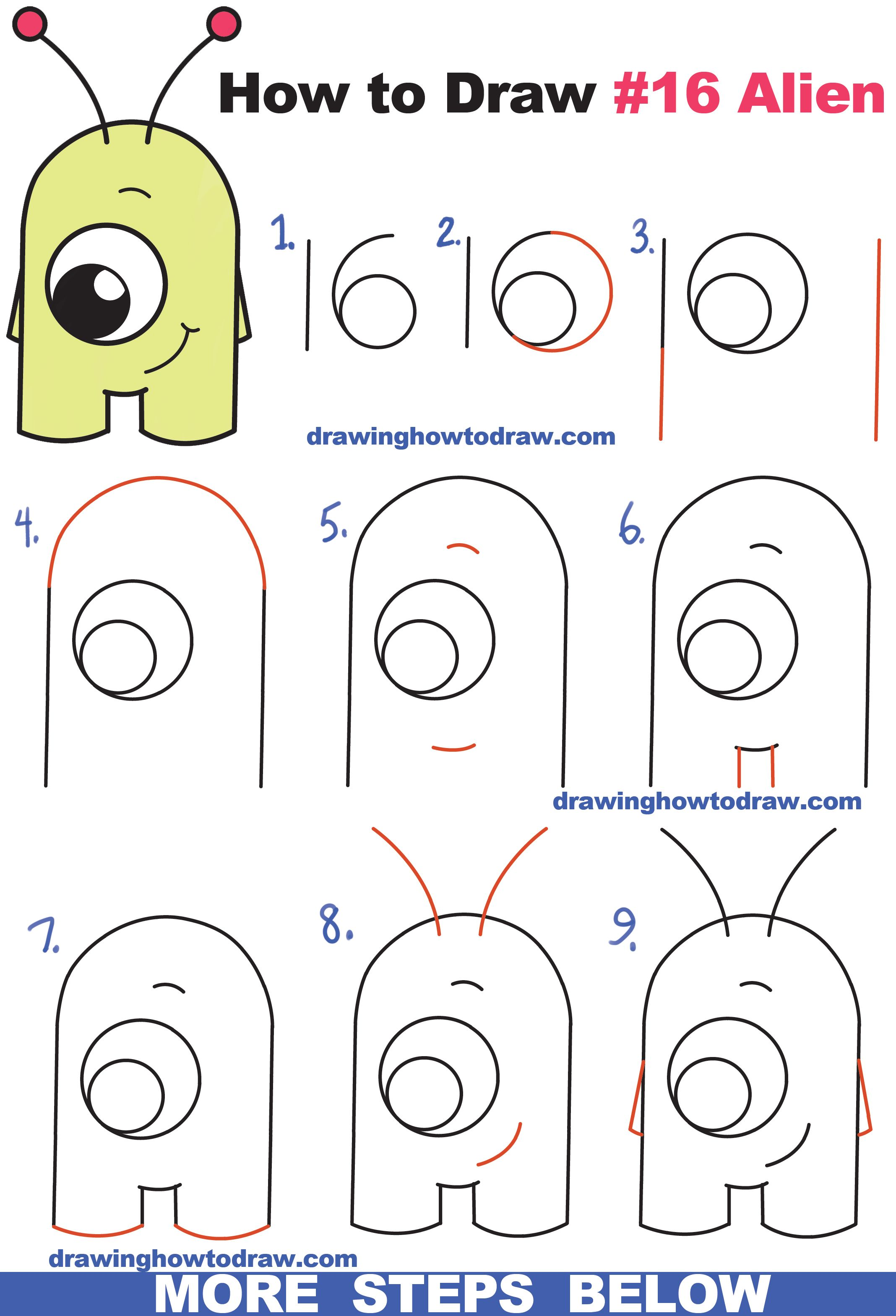How To Draw Cute Cartoon Alien From Numbers 16 Easy Step By Step