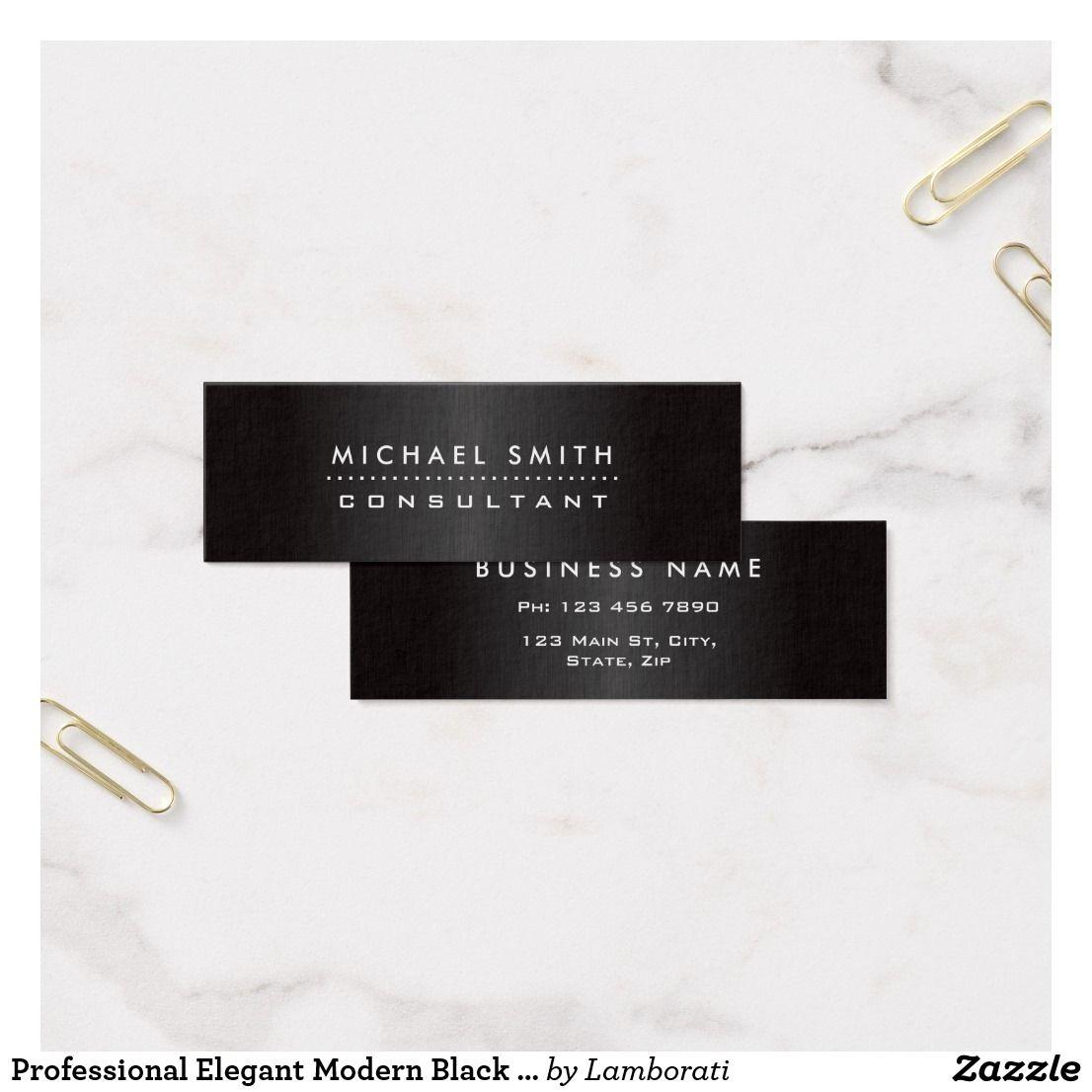 Professional Elegant Modern Black Brushed Metal Mini Business Card ...