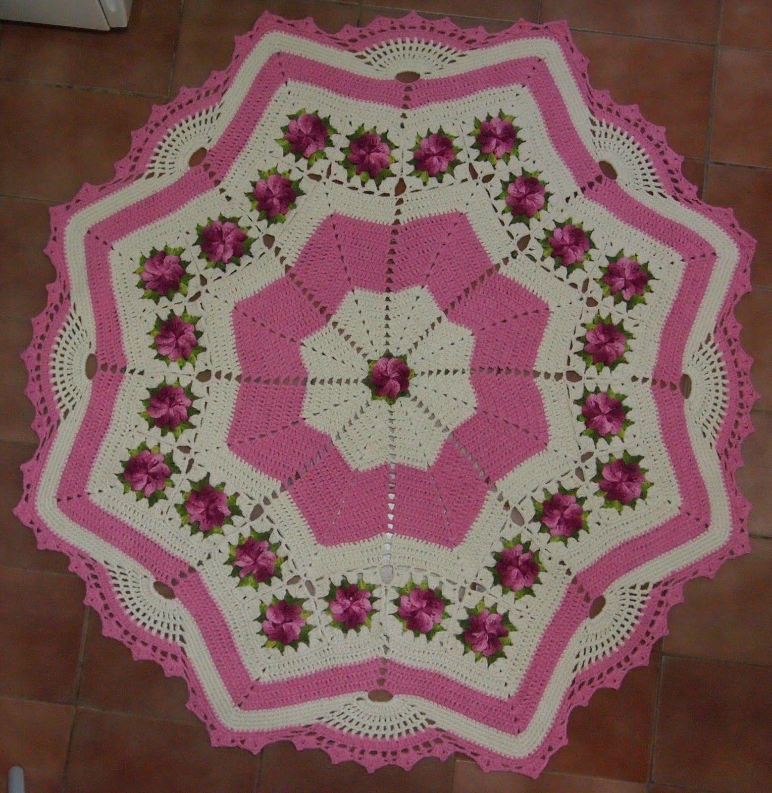 75 Modelos De Tapetes De Barbante Para Inspirar Crochet -> Tapetes De Croche Para Sala