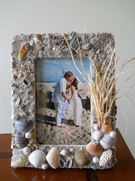 """Photo of A Day at the Beach"""" Frame 4×6 / 6×4 Frame, Made to Order with Sand, Shells, Coral, Pearls, Fake Sea Oats. Wedding Gift!"""