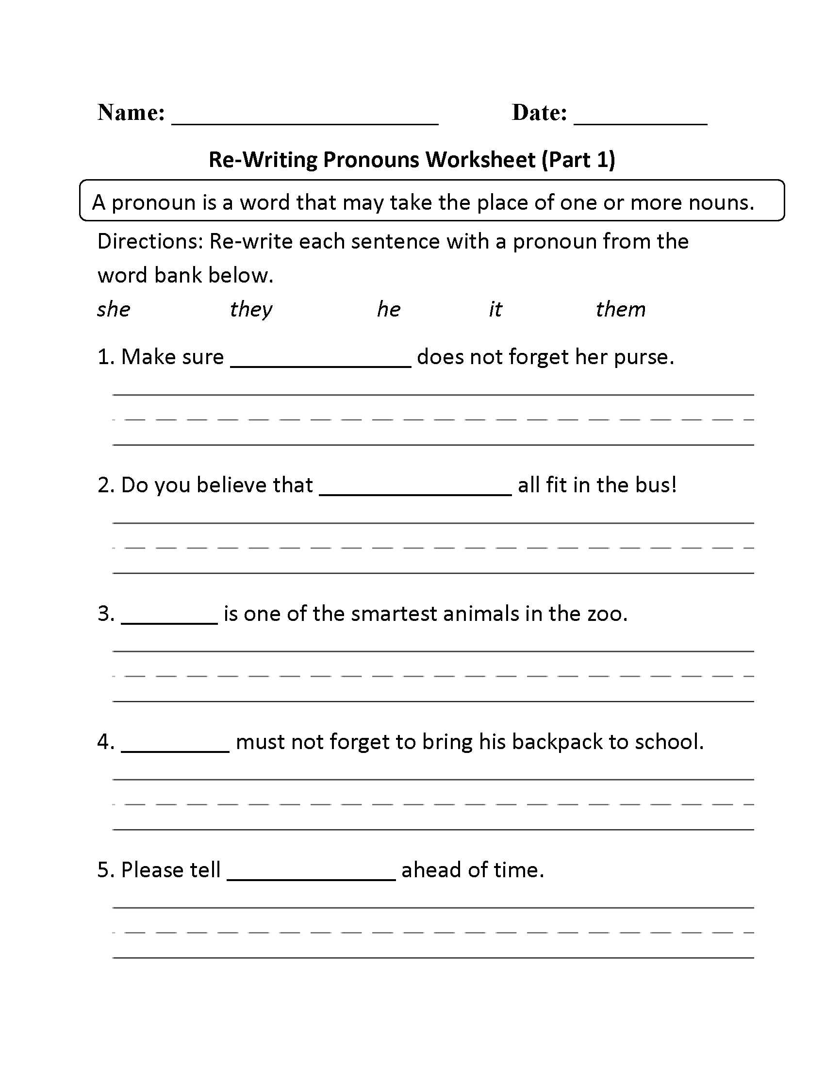 Re Writing Pronouns Worksheet Part 1