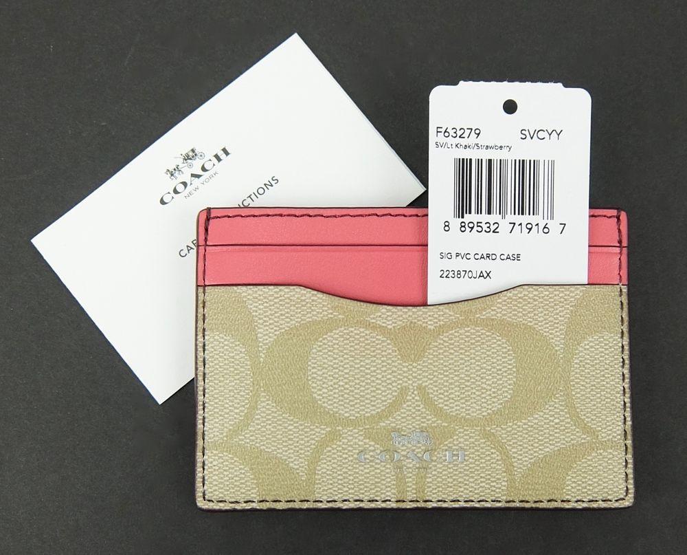 e9ab88b6d5 Womens Coach Card Case Wallet Khaki Signature Canvas Pink Leather ...