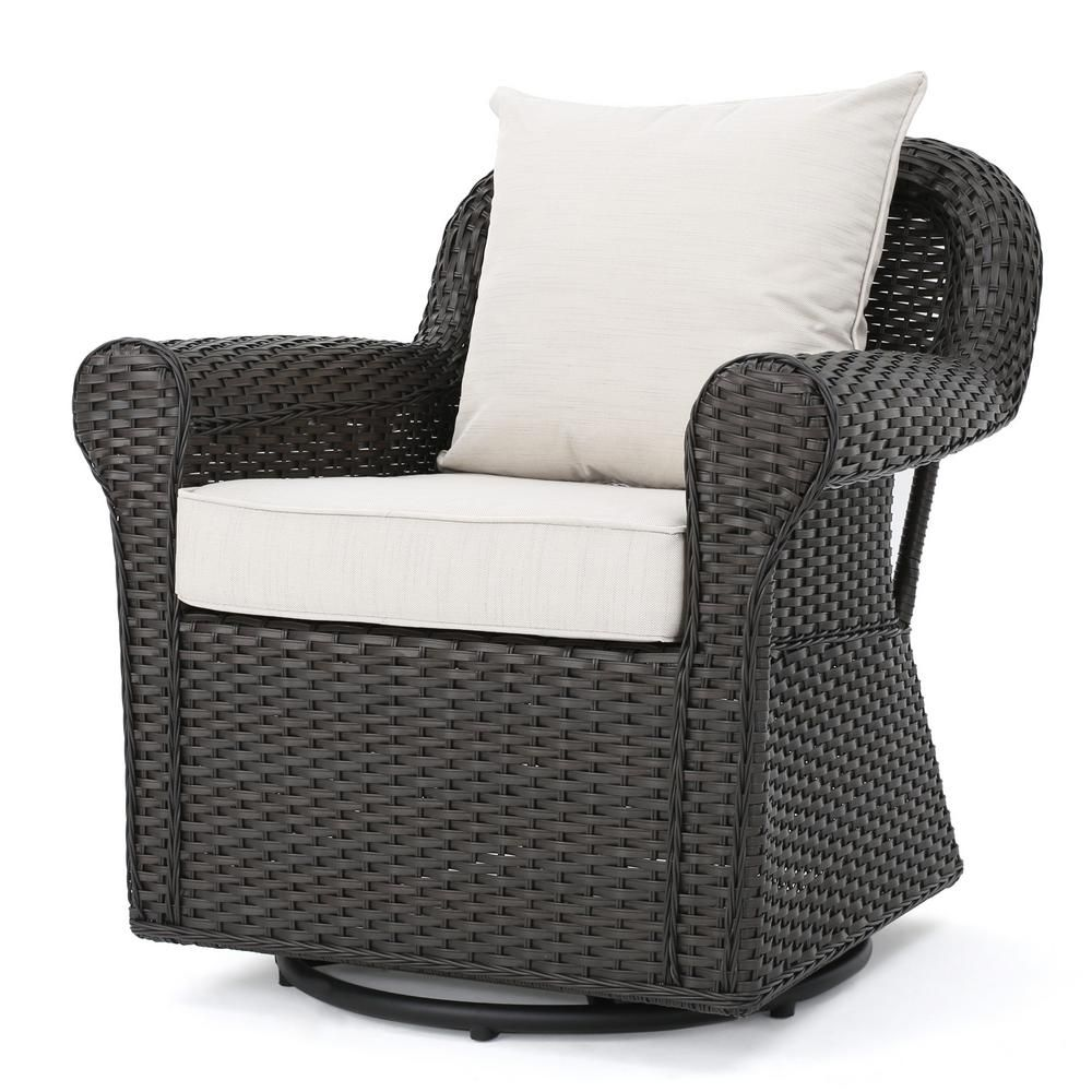 Superb Noble House Amaya Dark Brown Swivel Wicker Outdoor Lounge Ocoug Best Dining Table And Chair Ideas Images Ocougorg