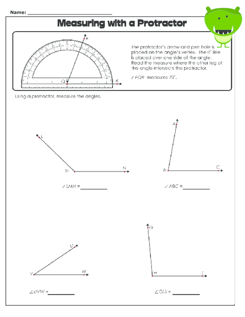 measuring with a protractor 1 geometry protractor free math worksheets worksheets. Black Bedroom Furniture Sets. Home Design Ideas