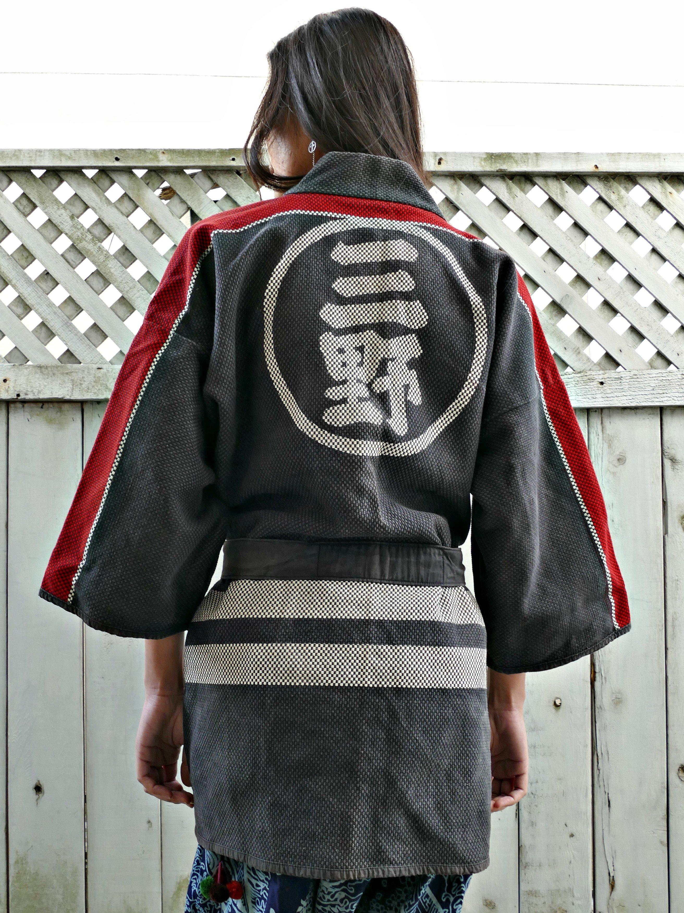Post1950 Vintage Japanese Fireman Hanten Kimono Jacket