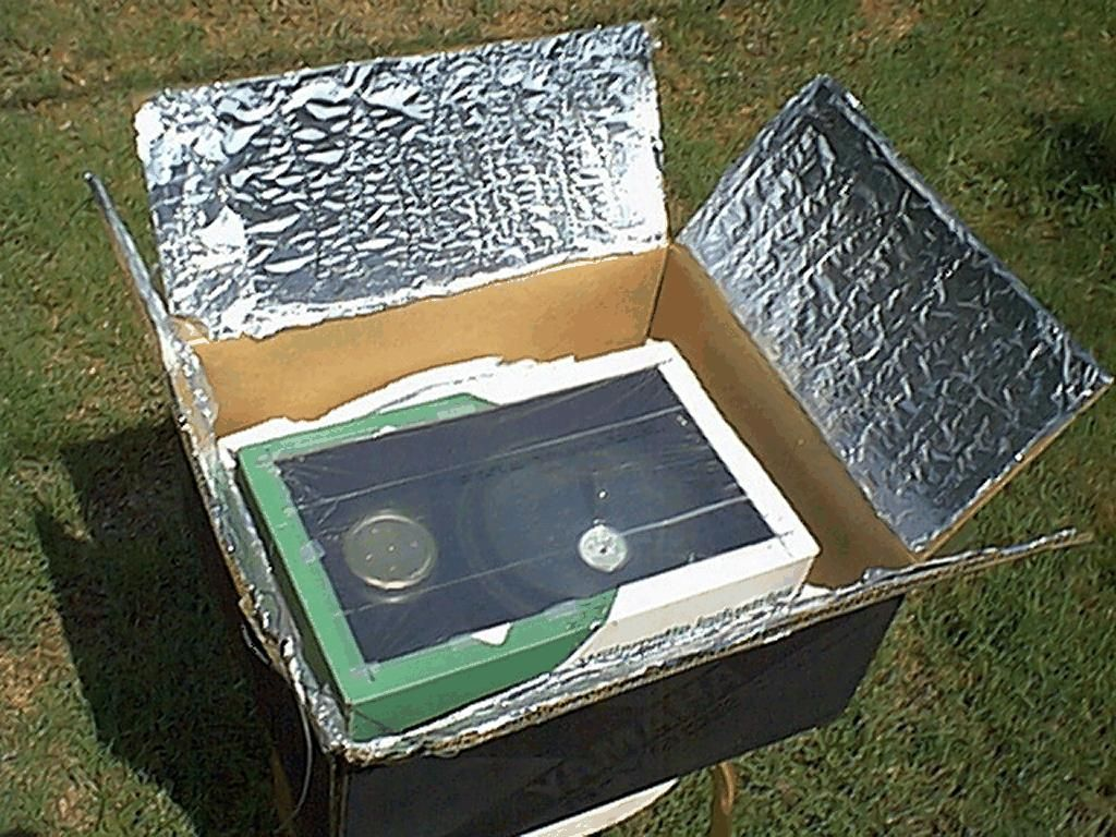 Solar Cooker Made From Cardboard Box And Foil Solar Oven Solar Cooker Solar Cooking