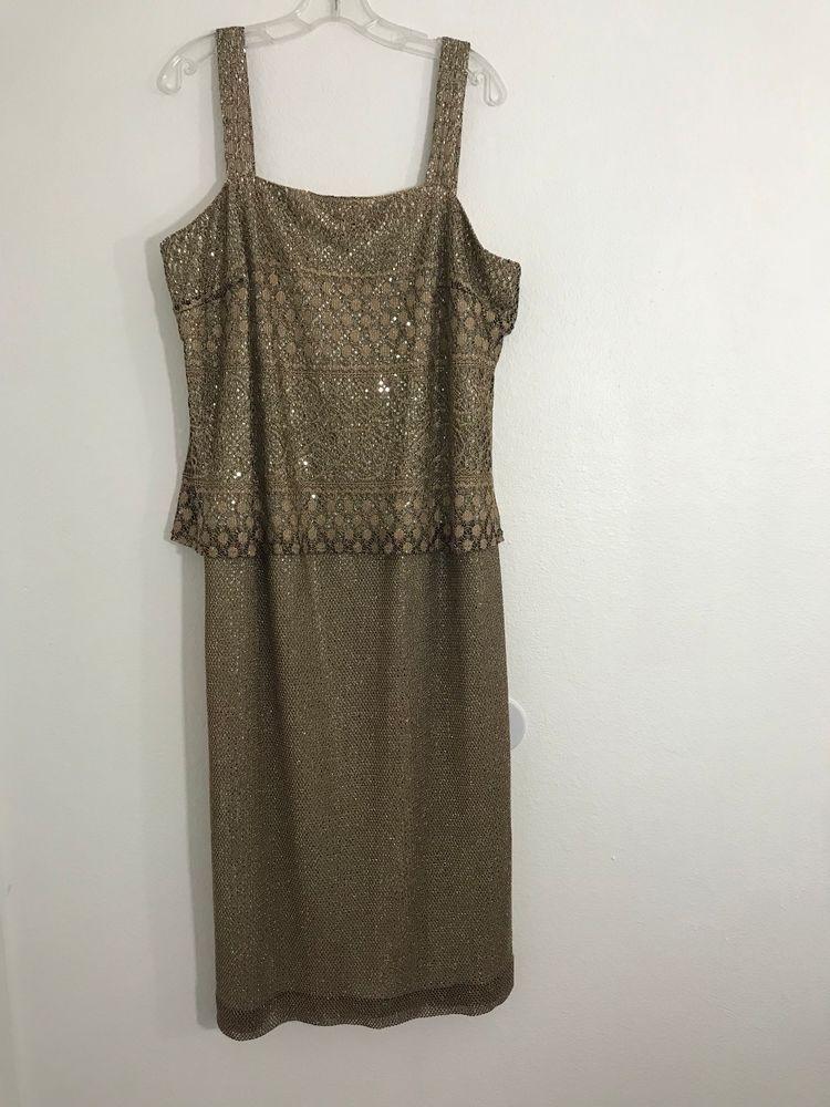 17bd3a22377 Onyx Nite By Wendye Chaitin Womens Gold Metallic Sleeveless Dress Size 20  1042