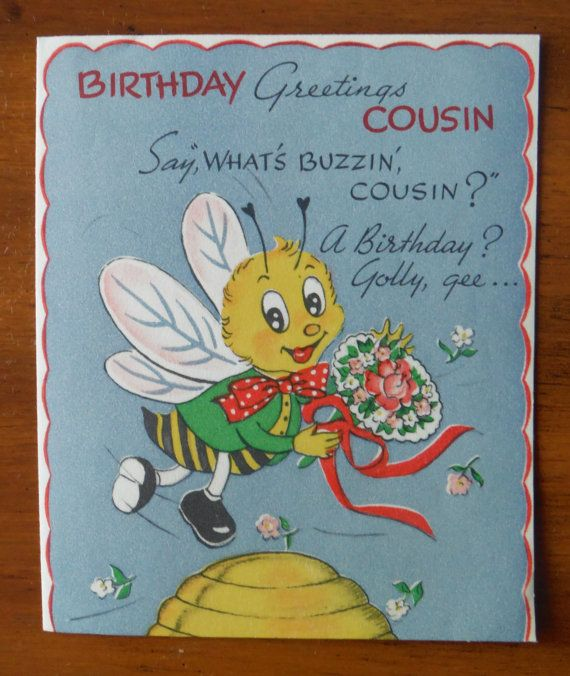 1946 Vintage Happy Birthday Cousin Card.