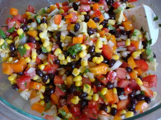 Cowboy Caviar  1 can corn, drained and rinsed 1 can black beans , drained and rinsed 2 tomatoes diced 1-2 avocados, diced 1 green pepper diced 1 red pepper diced ½ onion diced Cilantro to taste   Sauce: ¼ c. olive oil (try using less for less points?) ¼ c. red wine vinegar or apple cider vinegar 2 garlic cloves 1 lime squeezed 1 tsp. cumin Pepper to taste  Mix sauce ingredients then toss with everything else. Adjust seasonings to taste. #cowboycaviar