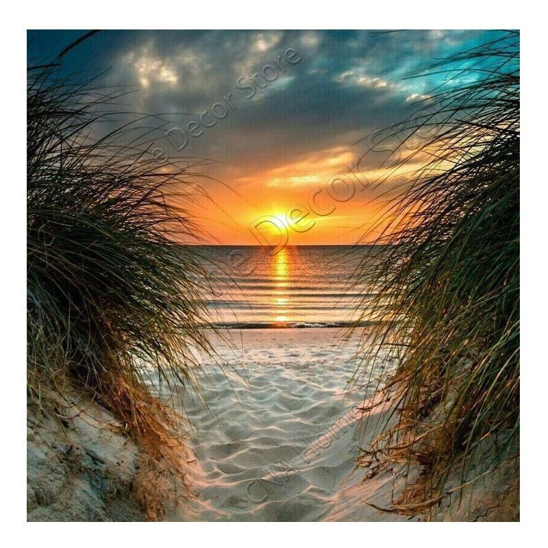 Beach DIY 5D Diamond Painting Beach Sunrise Kits for Adults Full Round Drill Paintings Embroidery Pictures Arts Craft for Home Wall Decor,5D Painting Dots Kits Landscape