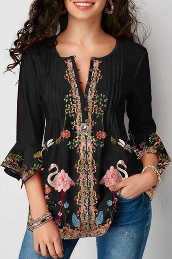 NEW Womens Black V-Neck Studs Embellished Top Blouse S 3//4 Sleeve Empire Waist