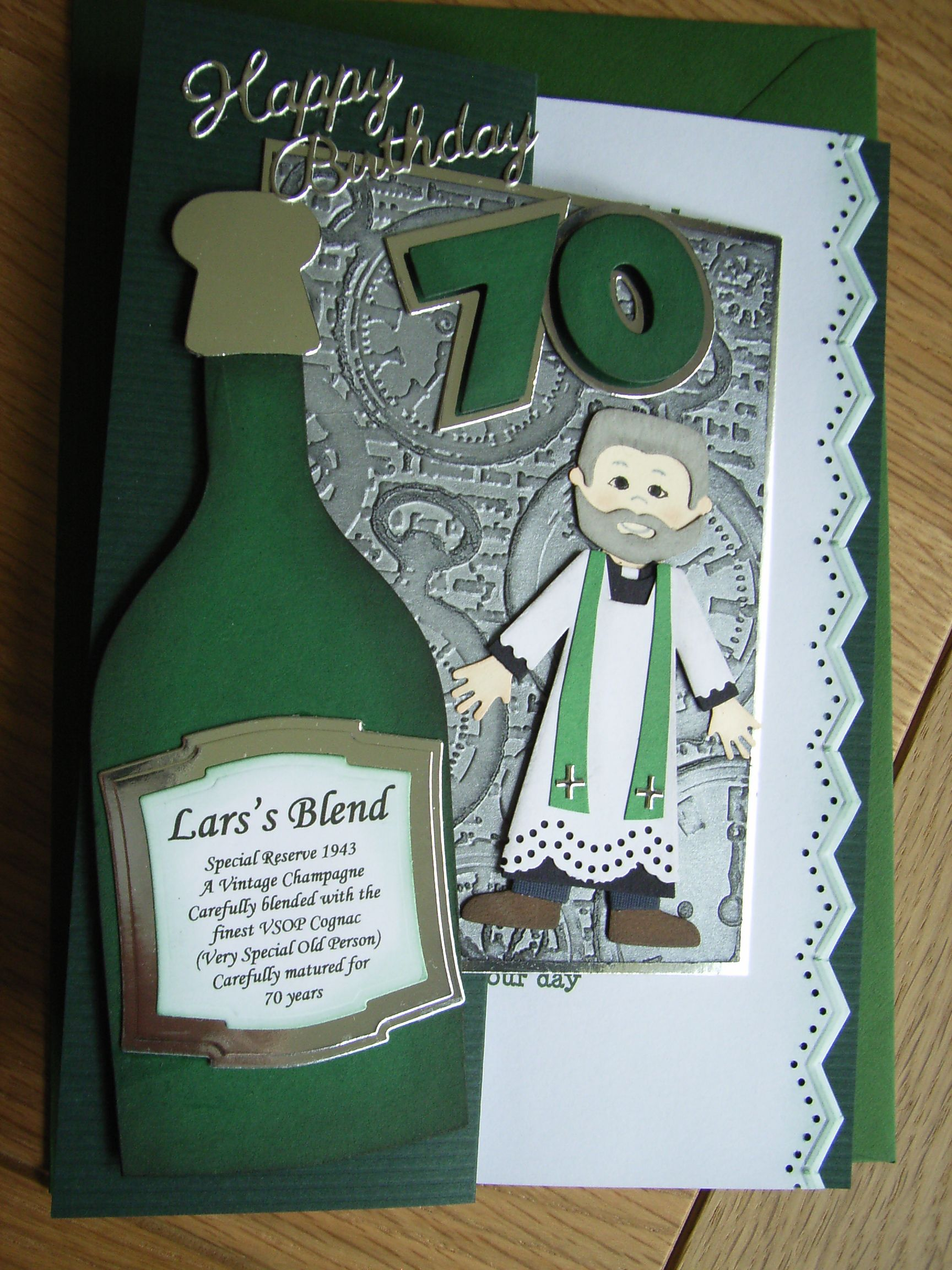 Vicar 70th Birthday Card Using Quickutz Revolution Doll Clothes And