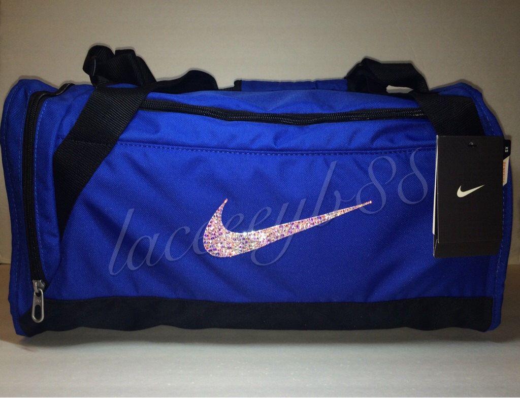 912b47e5f2f XS-Bling Swarovski Nike Duffle Bag-Blue by laceeeyb88 on Etsy https