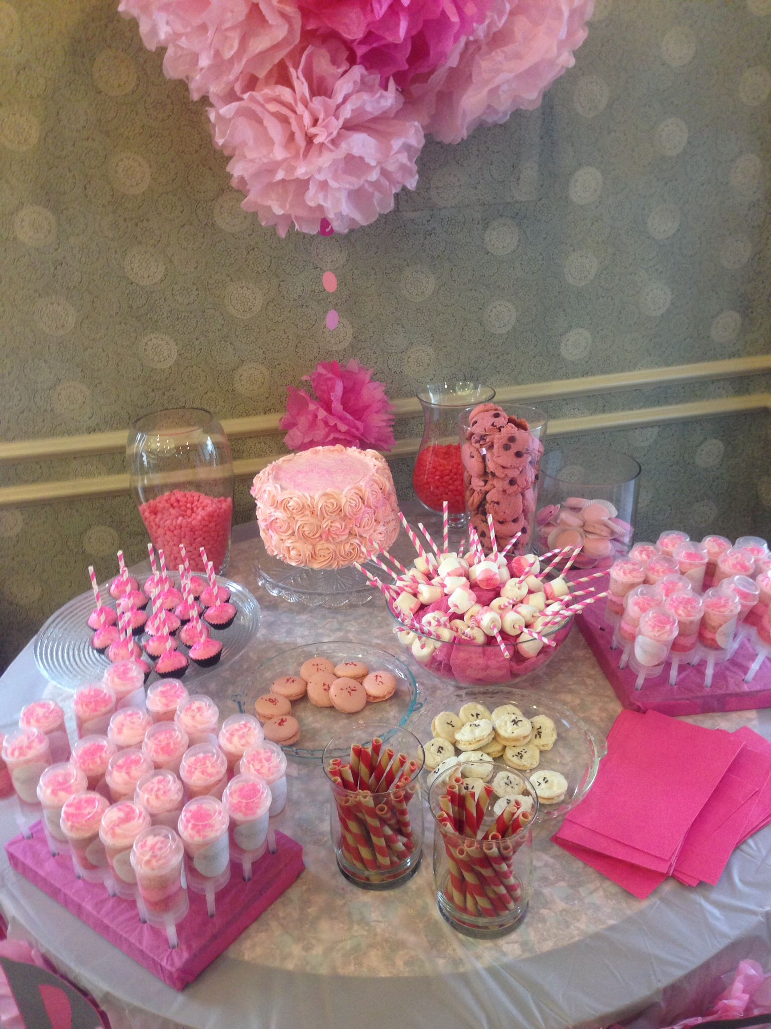 My Baby S Pink Sweets Table On Her Christening