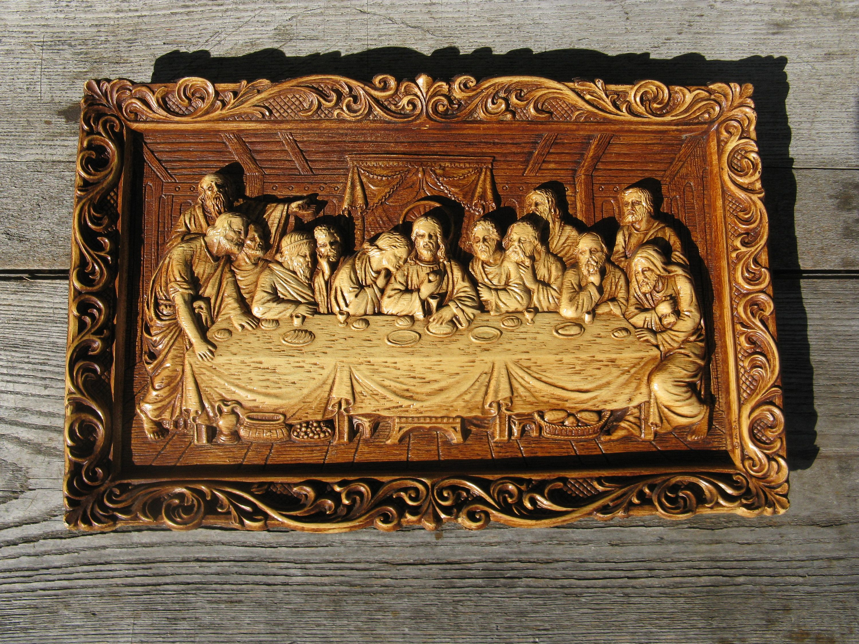 Vintge Last Supper Wall Hanging Christian Wall Decor Grannie Chic Movie Prop Christian Wall Decor Movie Props Wood Art