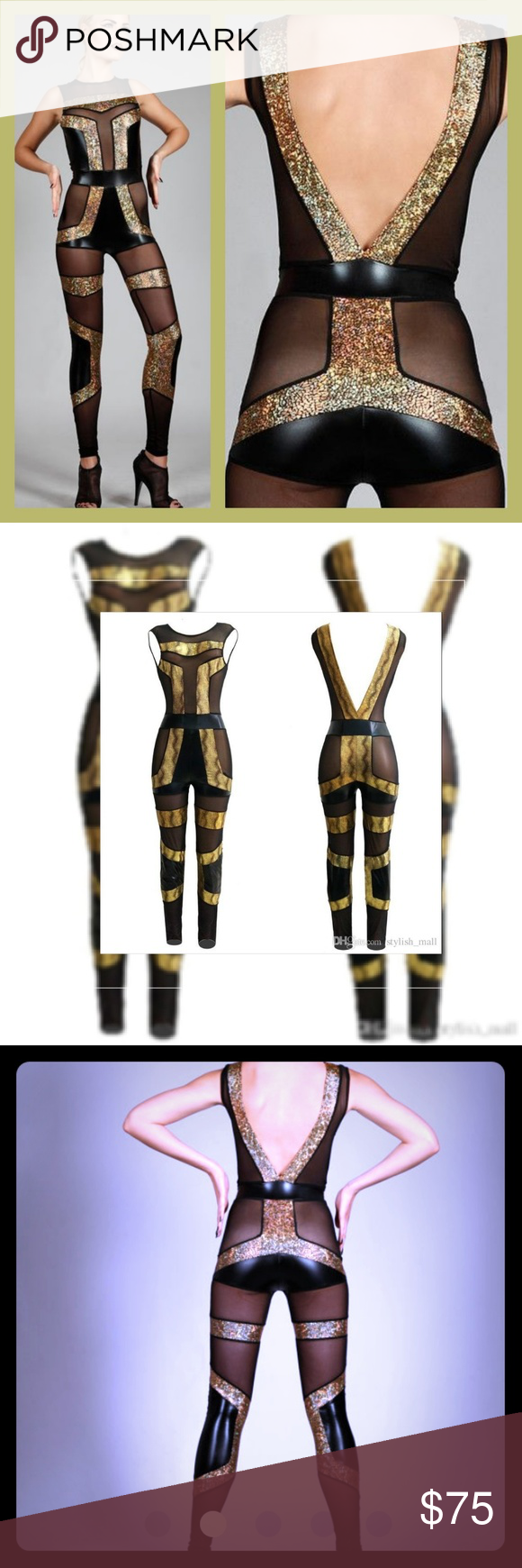 Futuristic Spandex Catsuit, Dance Costume jumpsuit Designed to draw attention and cut to flatter. Made from 48 pieces of fabric; a mixture of sheer mesh, holographic gold and shiny black spandex. Fits like a second skin yet allow ease of movement. Feature a round neckline and V-cut back, which makes it easy to take on/off.? Color & Material:? - Holographic Gold, Shiny Black: 80% polyester 20% cotton  - Sheer Black Mesh: 85% nylon, 15% spandex Pants Jumpsuits & Rompers