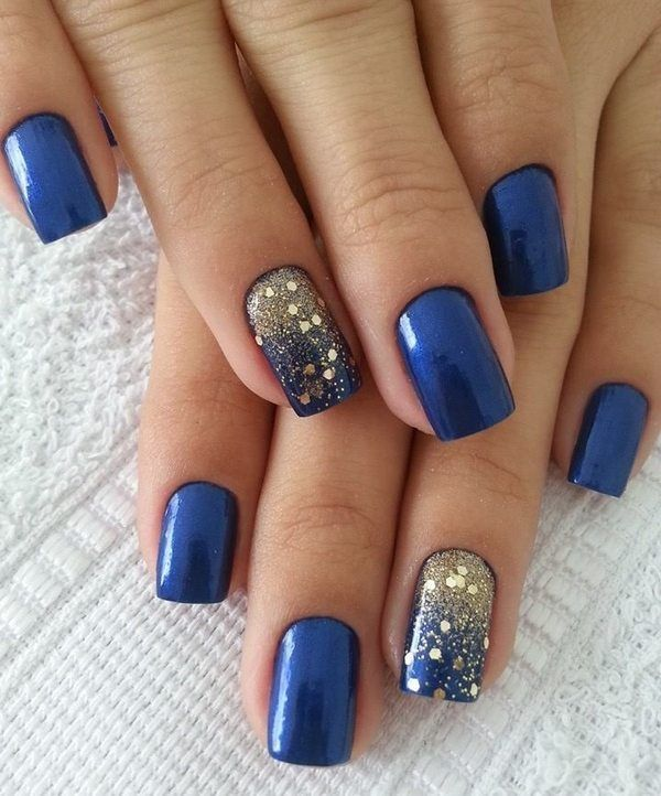 Blue Manicure With Golden Glitter Nail Designs For Short Nails Blue Nail Art Diynaildesigns Blue Nail Art Designs Blue Glitter Nails Blue Nail Art