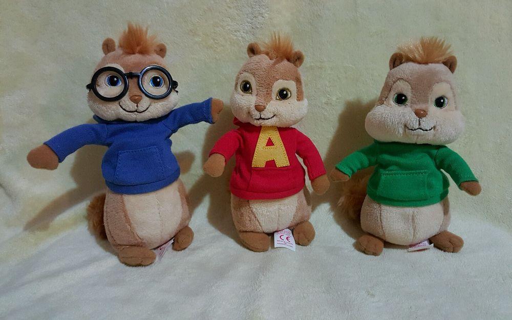 The Chipmunks Alvin Simon Theodore Ty Beanie Babies Lot of 3 Beanbag Plush   e01868f3d1d8