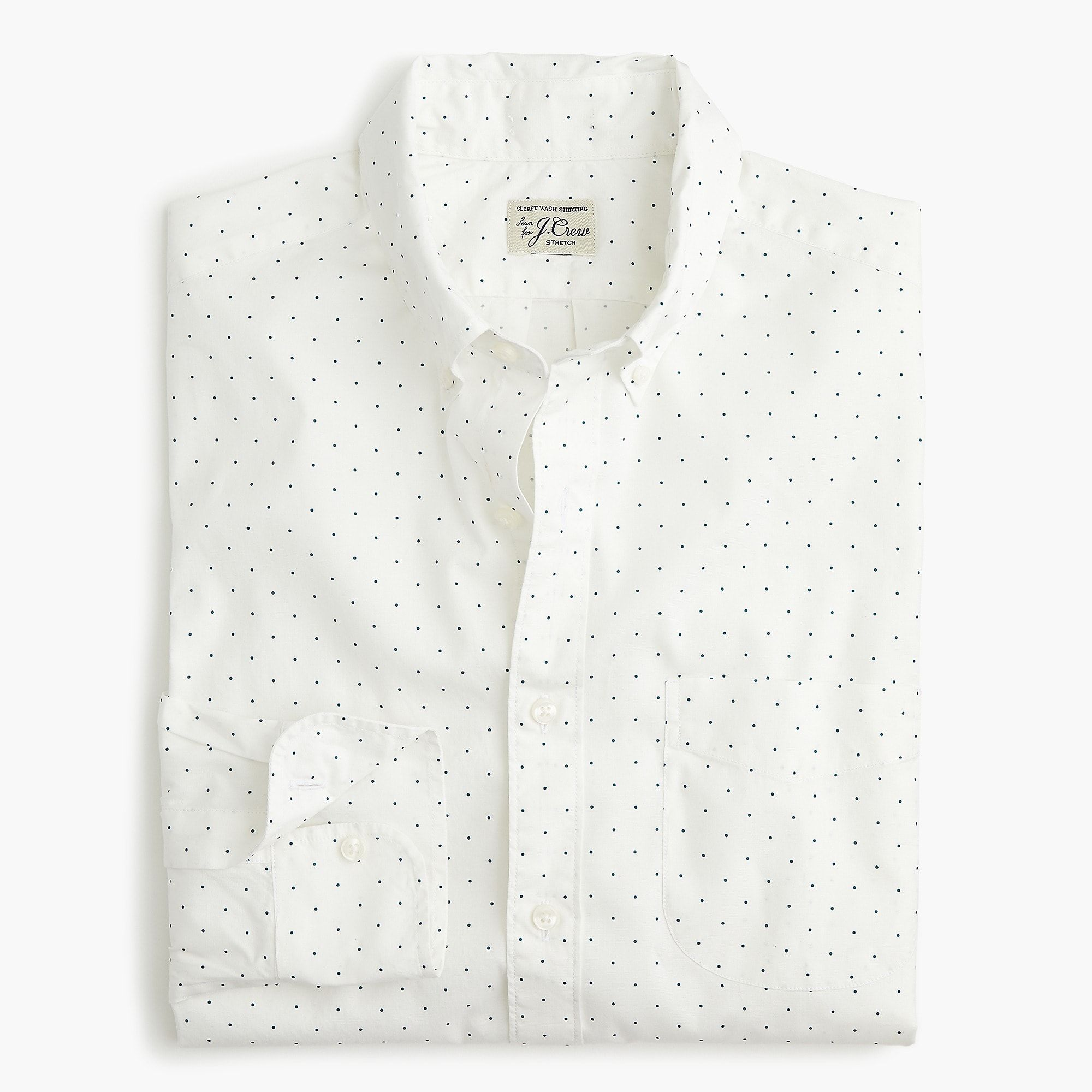 a994f51e25b6a Shop the Stretch Secret Wash shirt in medium-dot print at J.Crew and see  the entire selection of Men's Shirts. Shop Men's clothing & accessories at  J.Crew.