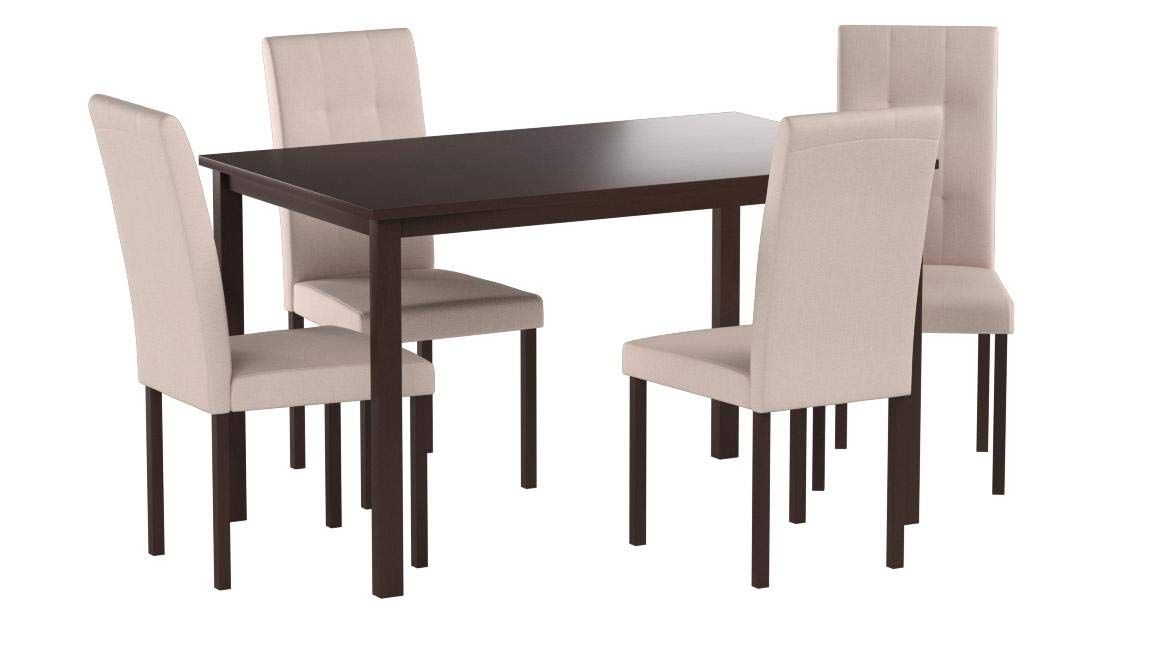 MOOSENG 5 PC Dining Room Furniture Set Upholstered Dining Table and Chairs Wooden Dining Set for Dining Room and Kitchen Black