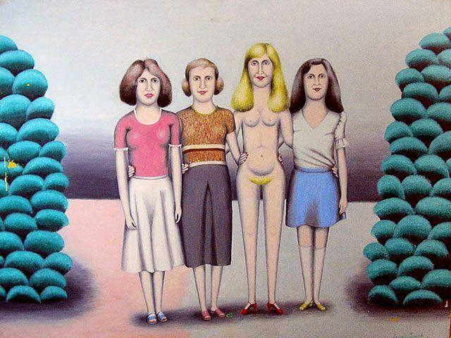Художник Аркадий Петров -   три  девушки  и  Венера.  1982
