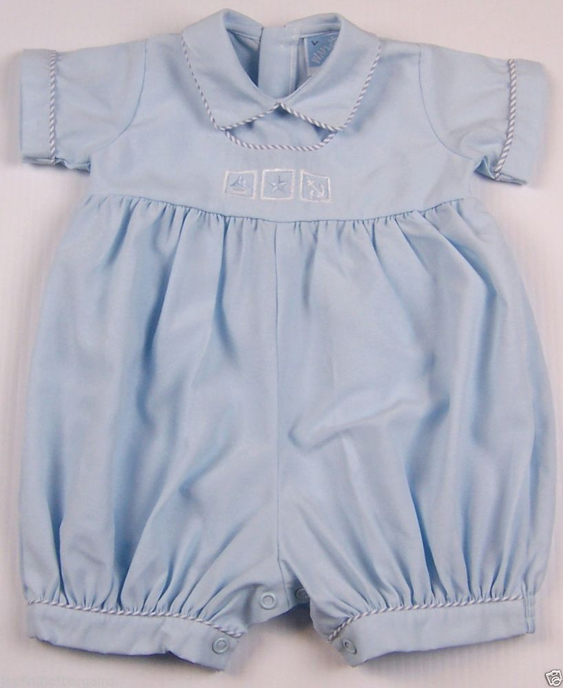 37ecefa7a84e Boys Will beth Blue Bubble Romper One-Piece Size 9 Months Embroidered Blocks