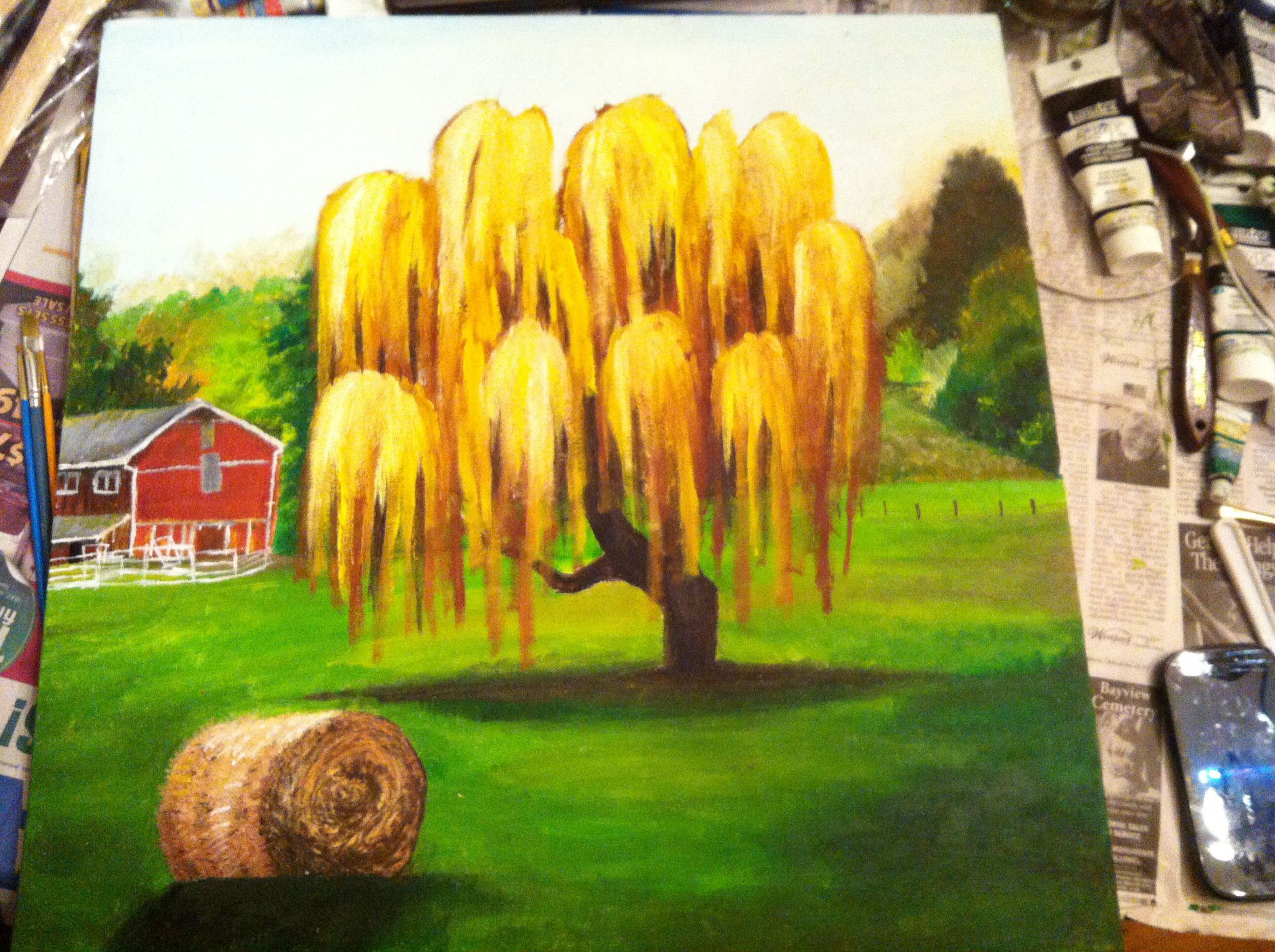 Acrylic painting of a weeping willow in the country | Paulson Art ...