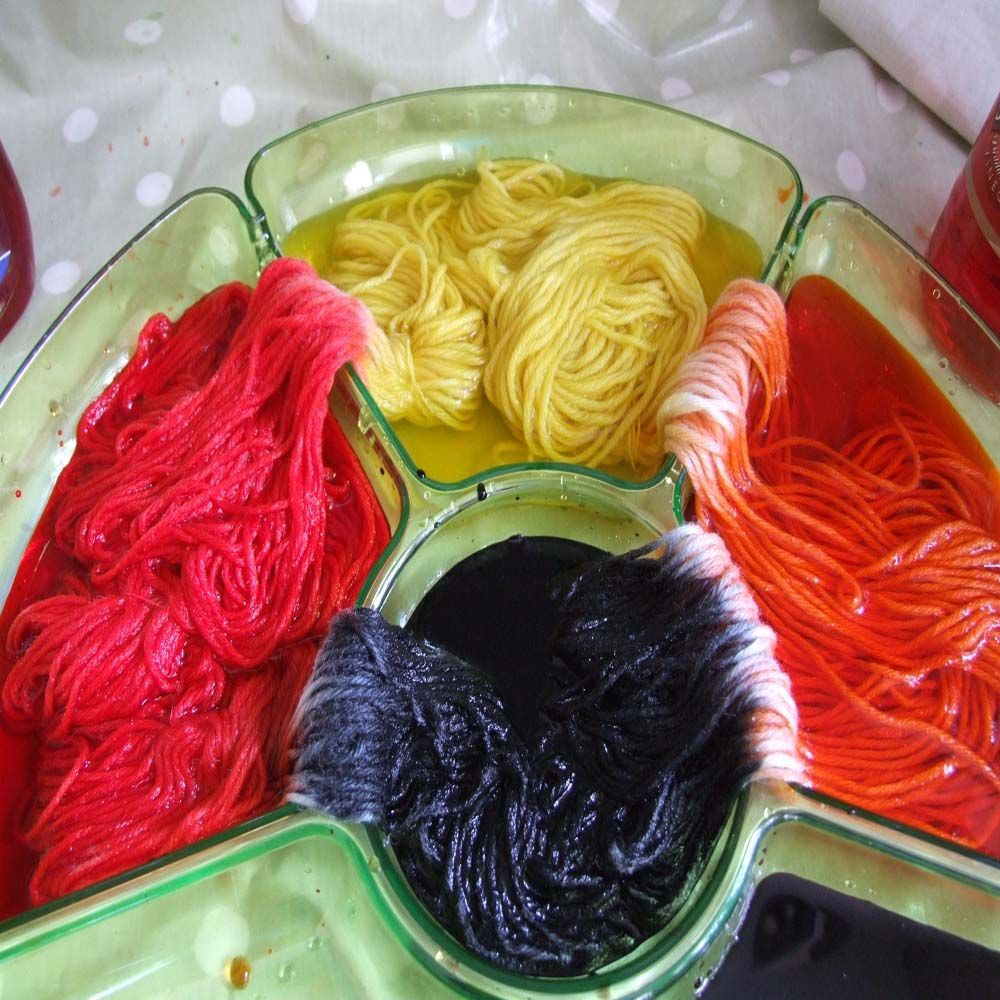 Dyeing Yarn Tip, use a plastic party tray to separate your