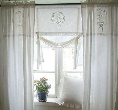 details zu raff gardine amalie weiss rollo 180 x 100 lillabelle monogramm landhaus shabby. Black Bedroom Furniture Sets. Home Design Ideas