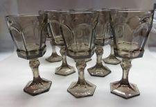 SET 8 PC FOSTORIA VIRGINIA WATER GOBLET BROWN HEAVY GLASS/CRYSTAL HEXAGONAL BASE