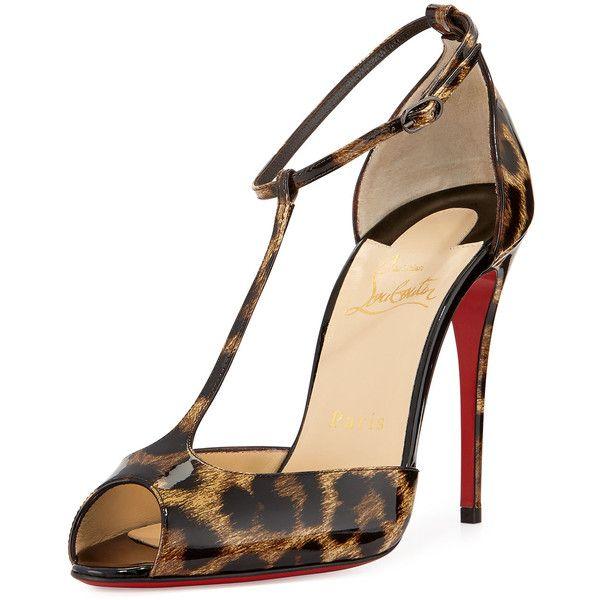 78494fa29f6f96 Christian Louboutin Senora Patent Leopard-Print T-Strap Red Sole... (