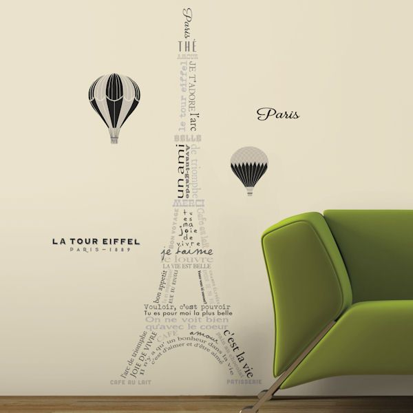 Eiffel Tower Neutral Peel And Stick Wall Decals   Wall Sticker Outlet