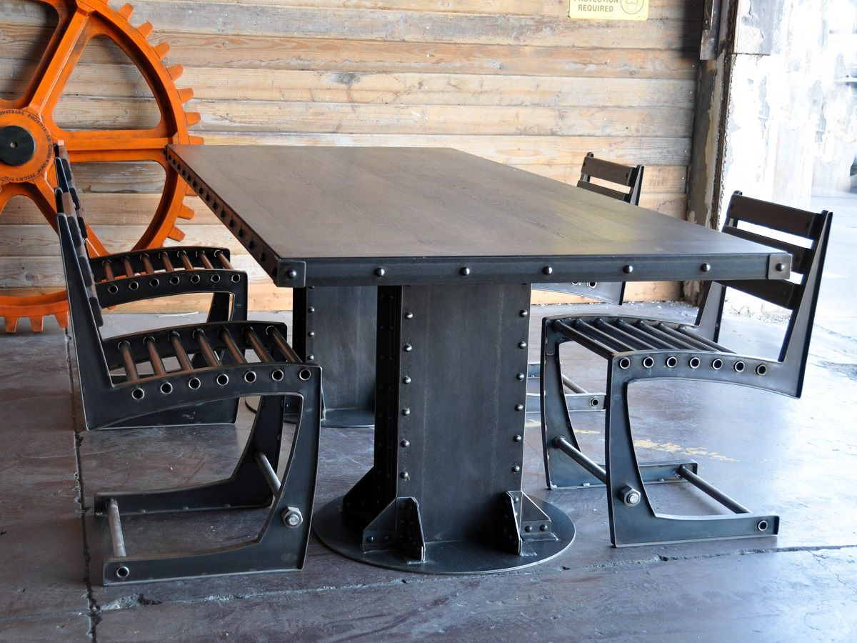 Post industrial conference table vintage industrial furniture - I Beam Dining Table Surrounded By Zen Dining Chairs By Vintage Industrial Furniture