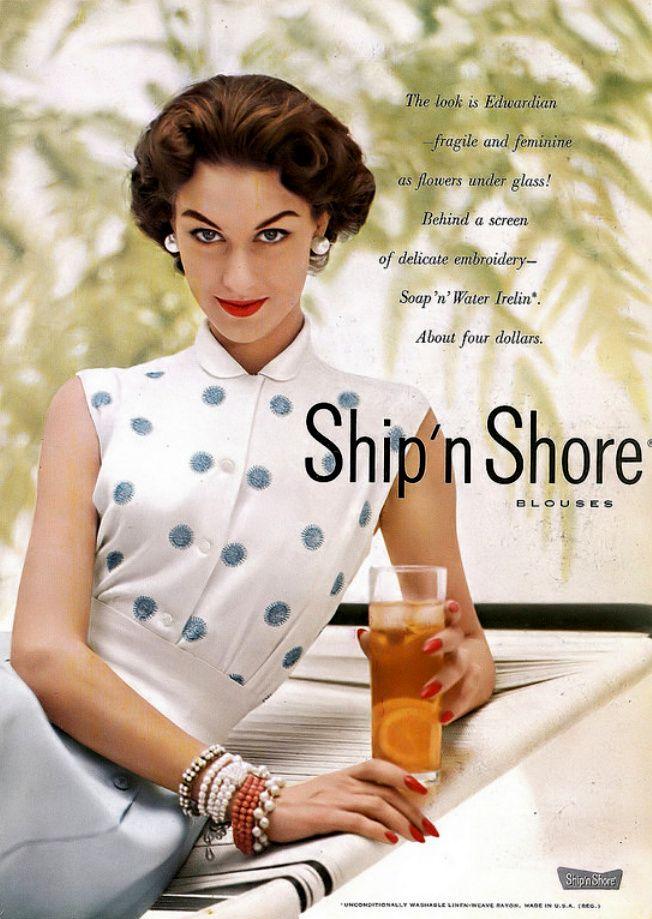 1953 Nancy Berg Ship N Shore Blouse Ad Harper S Bazaar 1950s