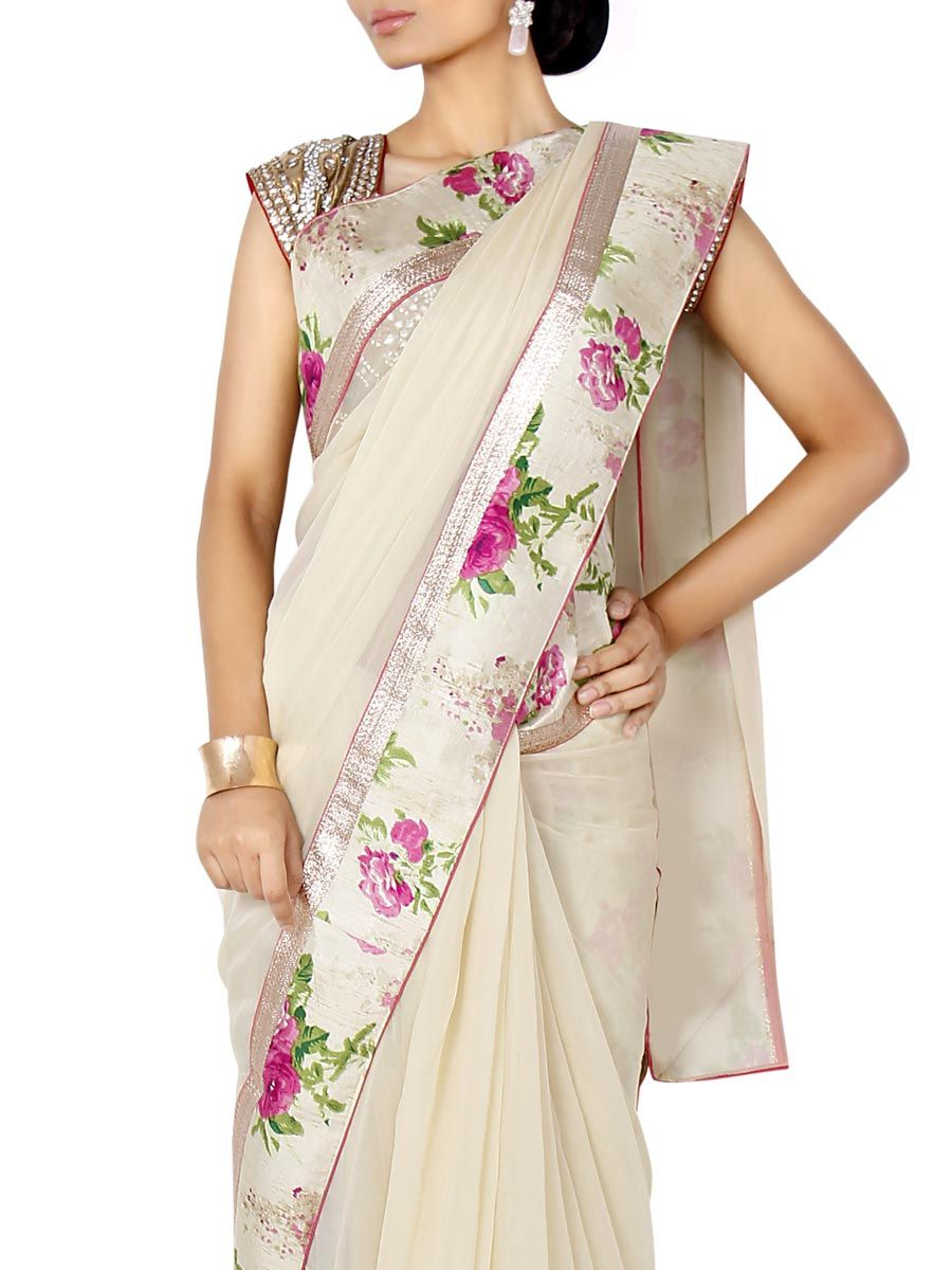 Chiffon with Floral Border Saree from Weaves