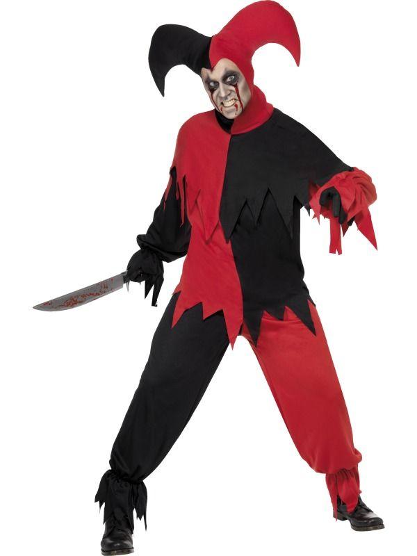 Mens Sinister Jester Halloween Clowns /& Circus Horror Film Fancy Dress Costume