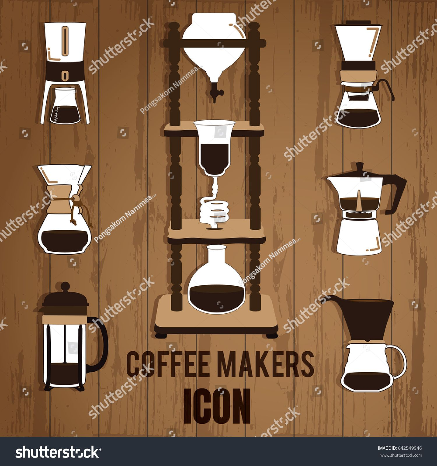 Cold Brew Coffee Makers For Coffee Shop On Wood Background