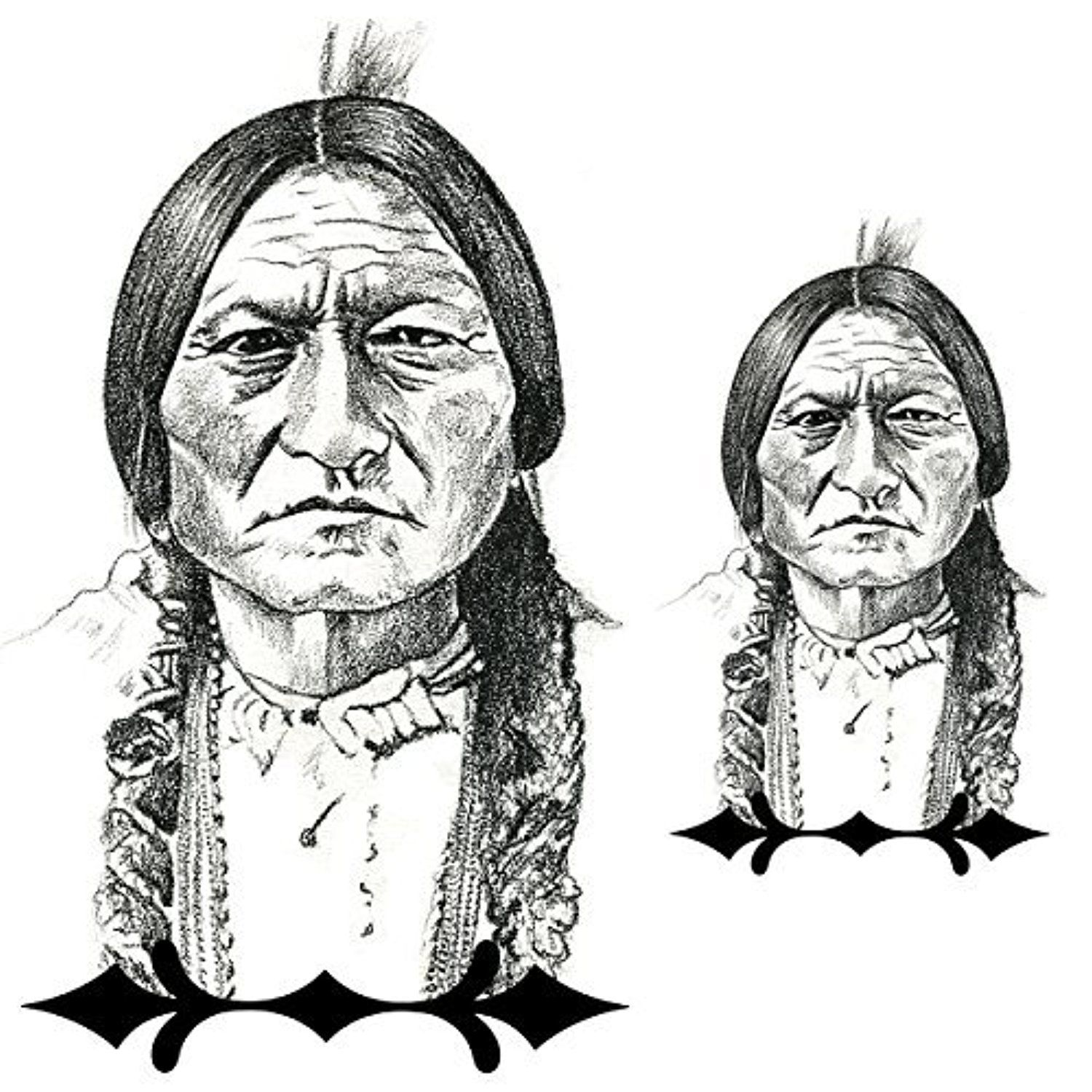 2 temporary tattoos native american indian chief sitting