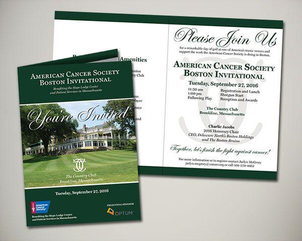 2016 American Cancer Society Boston Invitational to benefit the AstraZeneca Hope Lodge Center in Boston golf invitation design
