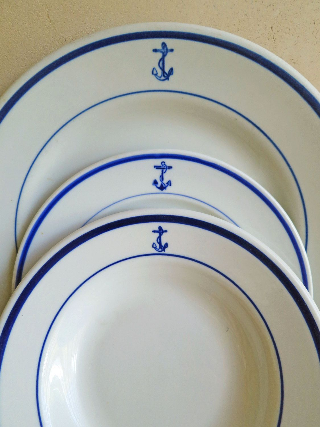 US Navy Fouled Anchor Dishes Naval Dishware Soup Bowl Dinner Plate Salad Plate Nautical Dinnerware & US Navy Fouled Anchor Dishes Naval Dishware Soup Bowl Dinner Plate ...
